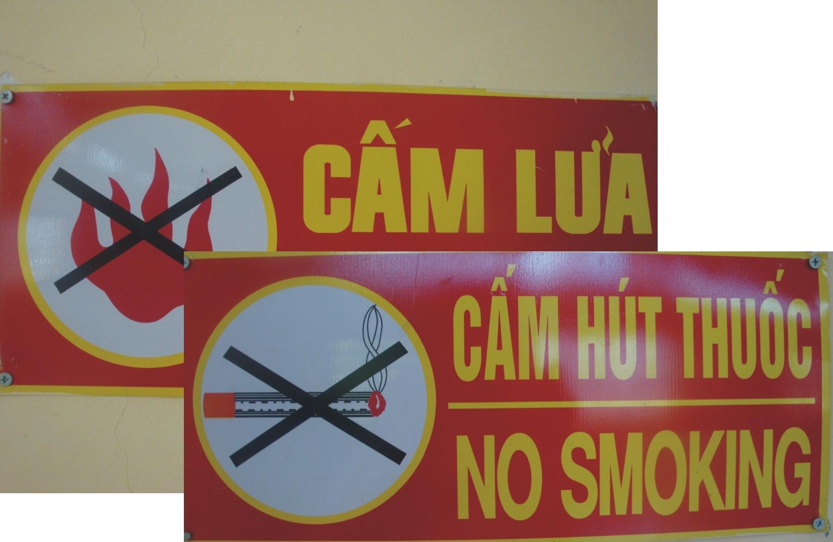 Biển cấm lửa, cấm hút thuốc