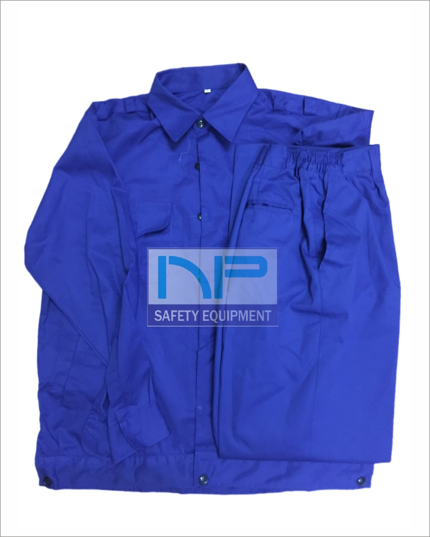 Quần áo bảo hộ kaki NĐ màu xanh CN (may sẵn)