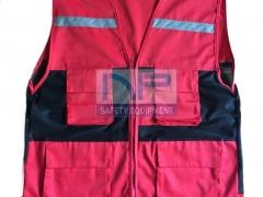 Áo gile kỹ thuật vải đỏ-lưới đen