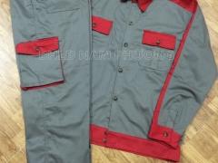 Quần áo phối màu ghi-đỏ